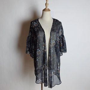 AEO Sheer Floral Kimono Gathered Shoulders XS/S